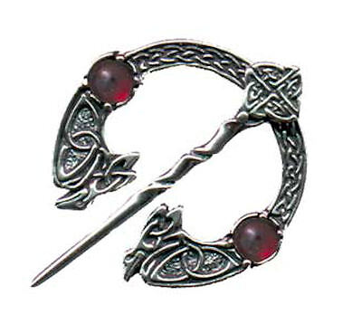 Celtic RAVEN Brooch Sterling Silver Medieval Fly Plaid CLOAK Pin Gemstone choice