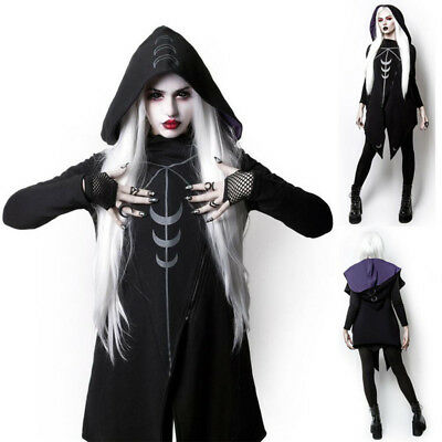 Women's Gothic Punk Hooded Irregular Long Jacket Coat Cape Vampire Witch Cosplay