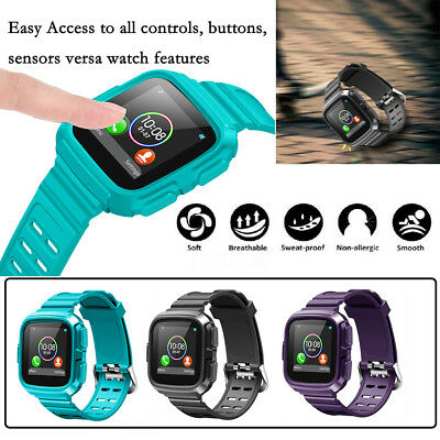 For Fitbit Versa TPU 360°  Shockproof Silicone  Sport Band With Armor Case