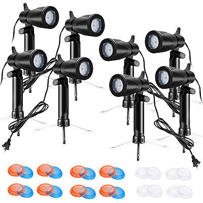 Total 8pcs Photography Studio Table Top LED Lighting with Gel Color Filters