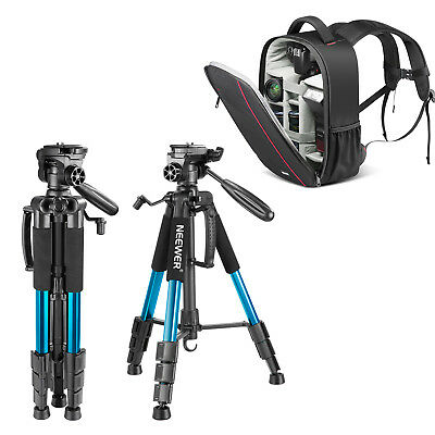 """56"""" Aluminum Camera Tripod with 3-Way Swivel Pan Head with DSLR Camera Backpack"""