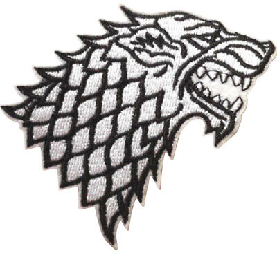 Game Of Thrones-Stark House Die White 9cm Embroidered Sew or Iron on Badge
