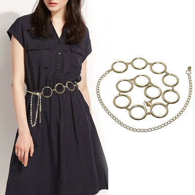 AM_ Women Metal Circle Thin Skinny Chain Waist Belt Dress Waistband Decor Deluxe