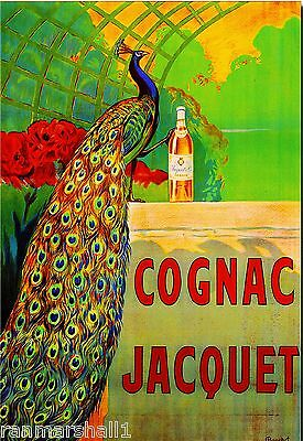 Cognac Jacquet Peacock Bird Liqueur Wine Vintage Advertisement Art Poster Print