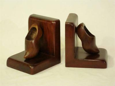 Vintage Mid Century Solid Wood Wooden Dutch Shoe Bookends Hand Crafted Mahogany