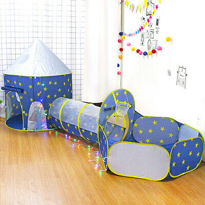 3 Pieces Kids Pop Up Space Capsule Play Tent - Playhouse, Ball Pit & Tunnel