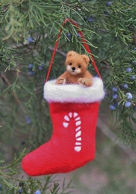 NEEDLE FELTED TEDDY BEAR Christmas MINI 1-3/4 IN. with STOCKING 3 IN. Artist DAL