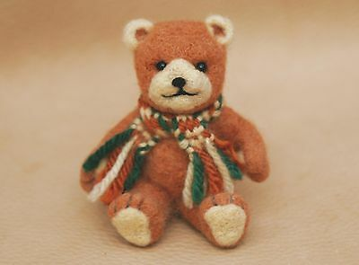 TEDDY BEAR + SCARF NEEDLE FELTED MINI 3 IN. Pose-able One of a Kind Artist DAL