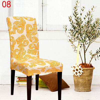 1xHome Kitchen Print Desk Chair Cover Banquet Restaurant Hotel Protector Durable