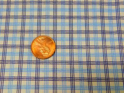 """2 Yards Vintage 36"""" wide 100% COTTON FABRIC Quilt Blue White Small PLAID"""