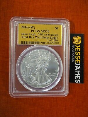 2016 (W) Silver Eagle Pcgs Ms70 First Day West Point Strike Gold Foil Label