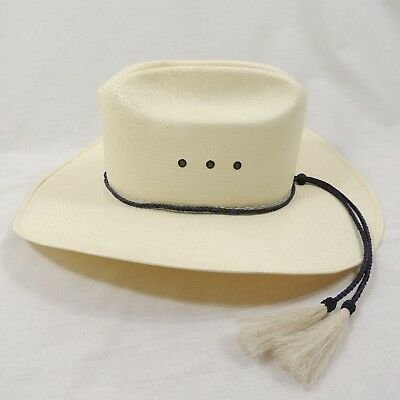 3d1af94b9a8 Stetson Natural Straw 5X Cowboy Hat Size 7 1 4  58 Braided Band