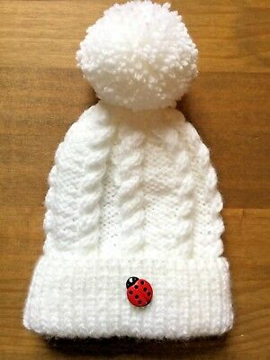 A Hand Knitted Baby Cable Pattern Bobble/pom Pom Hat 0-3 Months Acrylic Wool