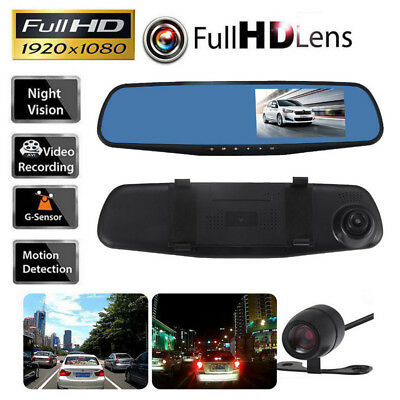 Car Vehicle Rearview DVR Dual Dash Cam 1080P HD Camera Front Rear Video Recorder