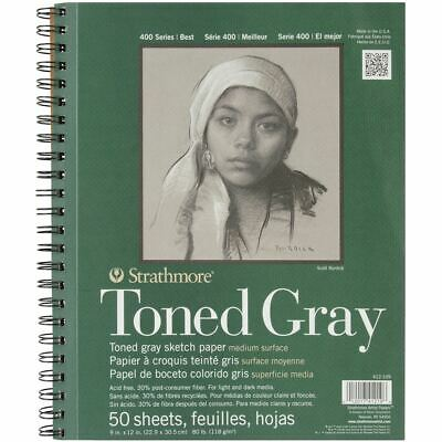 Toned Sketch Spiral Paper Pad 9 inch x 12 inch - Gray 50 Sheets - Strathmore