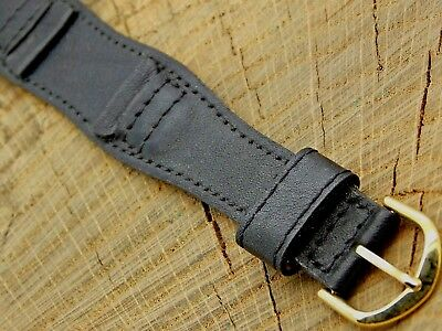 NOS Unused Vintage Black Leather Watch Band w Gold Tone Buckle 17.5mm Mens