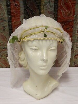 Vtg 1920s Wax Flower Wedding Headpiece Crown Headband Tiara Orange Blossoms Veil