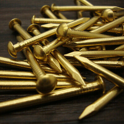 100PCS SOLID BRASS PANEL PINS NAIL TACK  Pure Copper Nails Round Head Gold