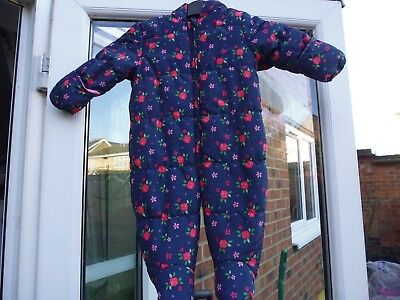 075e4280d MOTHERCARE BABY GIRLS Navy Floral Design Snowsuit..Age 6 - 9 Months ...