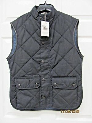 25% OFF Barbour Lowerdale Vest Men's XL Black Waxed Cotton Quilted Blue Lining