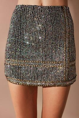 f4602b8bc4 Urban Outfitters Women's Sequin Studded Mini Skirt Glitter High Rise Size 2  NEW