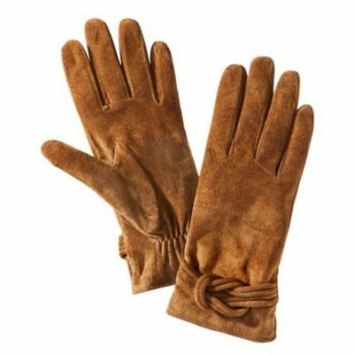Womens Brown Suede Knotted Leather Gloves