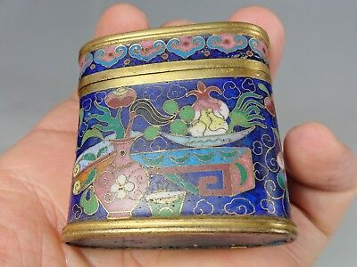 Antique Chinese Early 19th Century Cloisonne Enamel Opium Box Scholars Items