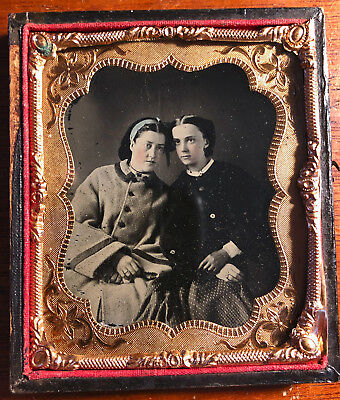 Sixth Plate Ambrotype of Mother and Daughter In Winter Coats