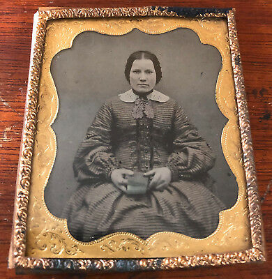 1/6-Plate Ambrotype, Woman in Striped Dress, Very Nice Condition