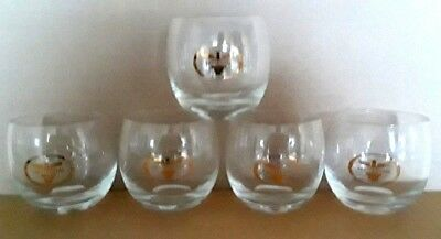 Lot of 5 Vintage Continental Airlines Cocktail Glass Bird Logo Faded Gold