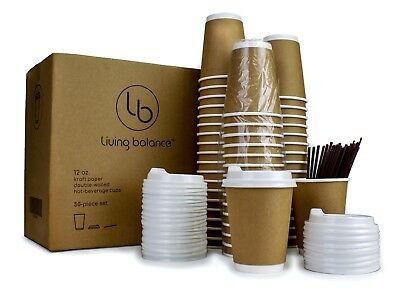 50 Disposable Paper Coffee Cups with Lids - 12 oz, Double-Layer insulation