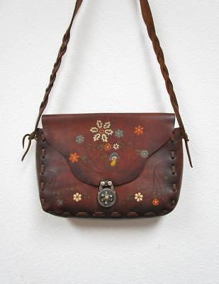 22320a4c3a VINTAGE 1970 s Handmade Mexican Tooled Leather Painted Hippie Bag Saddle  Purse