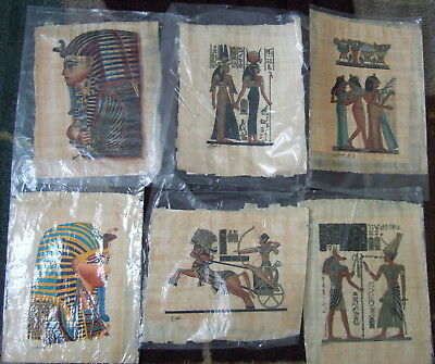 6 Egyptian Papyrus Lot + Letter Of Authenticity Coa  King Tut, Chariots, Signed!