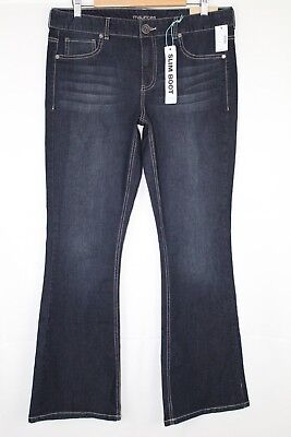 d867a9fe08f New Maurices Women s Mid Rise Slim Boot Denim Flex Size 16r Dark Blue Wash