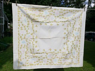 Vintage White Pink Blue Green Gardening Theme Tablecloth As Found