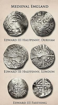 Medieval England. Lot of 3 Silver Hammered, Edward III halfpenny and farthing