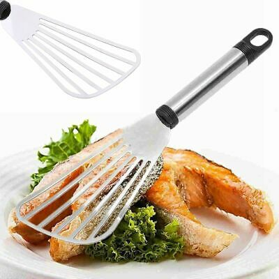 10'' Stainless Steel Flat Fish Slice Frying Spatula Leaky Shovel Kitchen Silver