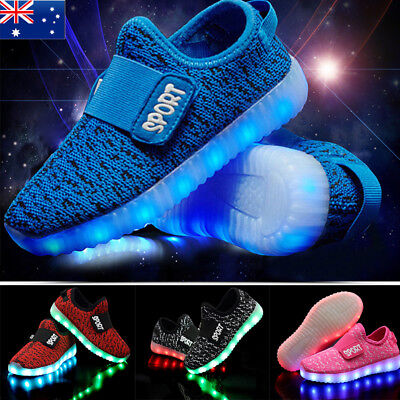 LED Shoes Kids Girls Boys  Led Light UP Trainers Sneakers Shoes USB Charging AU