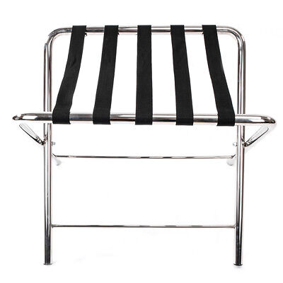 Portable Steel Folding Suitcase Stand Travel Folding Luggage Rack Silver