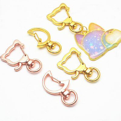 5Pcs Cat Moon Shape Metal Snap Hook Lobster Clasps Lanyard Keyring Keychain DIY