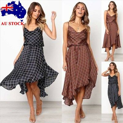 Women Summer Irregular Check V Neck Strappy Dress Beach Party Swing Dress 10-16