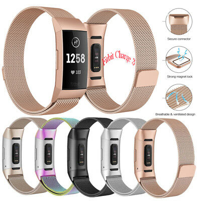 Milanese Metal Replacement Strap for Fitbit Charge 3 Secure Band Metal Buckle -