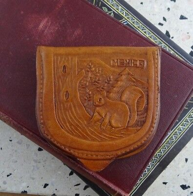 Vintage Tooled Leather Coin Pouch Souvenir from Mexico, Squirrel & Bear Design