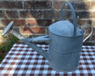 Vintage Old Nicely Shabby Galvanised Watering Can With Rose