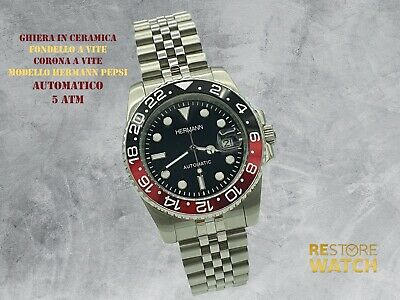 Orologio HERMANN Automatico PEPSI JUBILEE DIVER WATCH SUBMARINER MIYOTA JAPAN