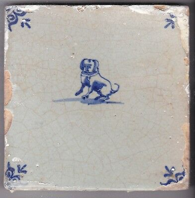Delft Tile c. 18th / 19th century   (D 96)          Dog with collar
