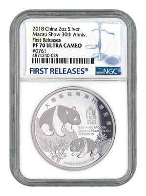 2018 China Macau Show Panda 2 oz Silver Proof Medal NGC PF70 UC FR SKU56216