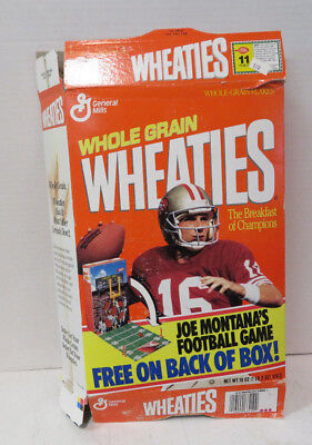 Wheaties Joe Montana Empty Cereal Box 18 oz, 49ers, Football Game On Back, 1991