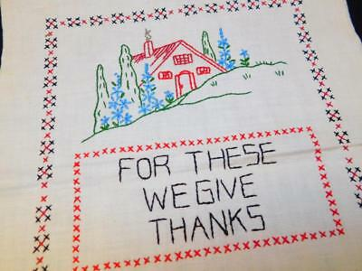 "Vintage Completed Linen Sampler FOR THESE WE GIVE THANKS 12x15"" Embroidered"
