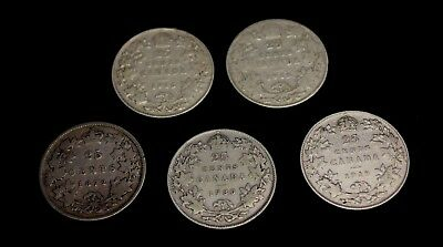 Lot of 5 Canada  25 Cents Silver  1872H 1916 1918 1919 1930